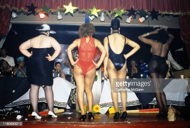 Drag ball in 1988 in New York City New York Pictured contestants face a panel of judges