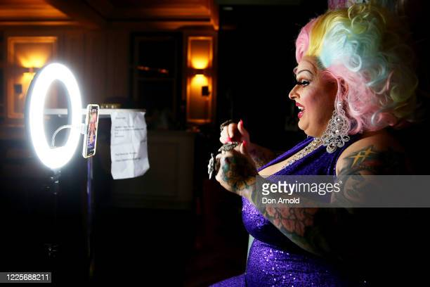 Drag performer Maxi Shield chats to her online audience in the Oxford Hotel on May 18, 2020 in Sydney, Australia. Drag performer Maxi Shield started...