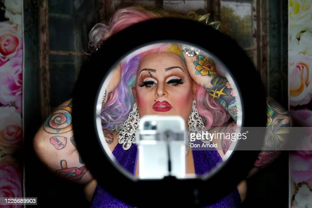 Drag performer Maxi Shield chats to her online audience in the Oxford Hotel on May 18 2020 in Sydney Australia Drag performer Maxi Shield started...
