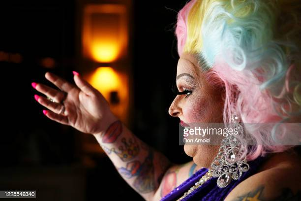Drag performer Maxi Shield chats to her online audience on May 18 2020 in Sydney Australia Drag performer Maxi Shield started hosting a live...