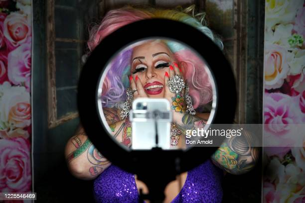 Drag performer Maxi Shield chats to her online audience on May 18, 2020 in Sydney, Australia. Drag performer Maxi Shield started hosting a live...