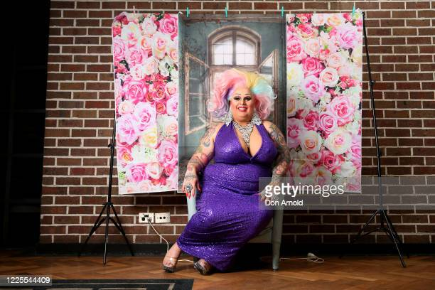 Drag performer Maxi Shield poses inside the Oxford Hotel on May 18, 2020 in Sydney, Australia. Drag performer Maxi Shield started hosting a live...