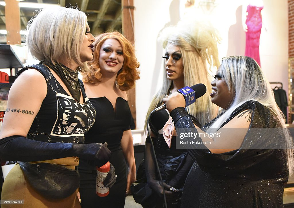 Drag queeens Sharon Needles, Jinkx Monsoon, and Alaska are interviewed by Jiggly Caliente during the opening of