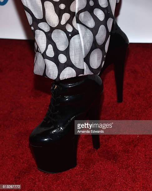 Drag queen Acid Betty shoe detail arrives at the premiere of Logo's 'RuPaul's Drag Race' Season 8 at The Mayan Theater on March 1 2016 in Los Angeles...