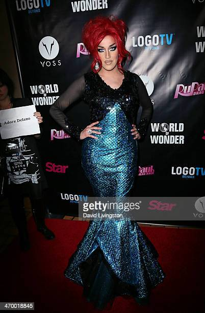 Drag queen Adore Delano attends the 'RuPaul's Drag Race' Season 6 premiere party at The Roosevelt Hotel on February 17 2014 in Hollywood California