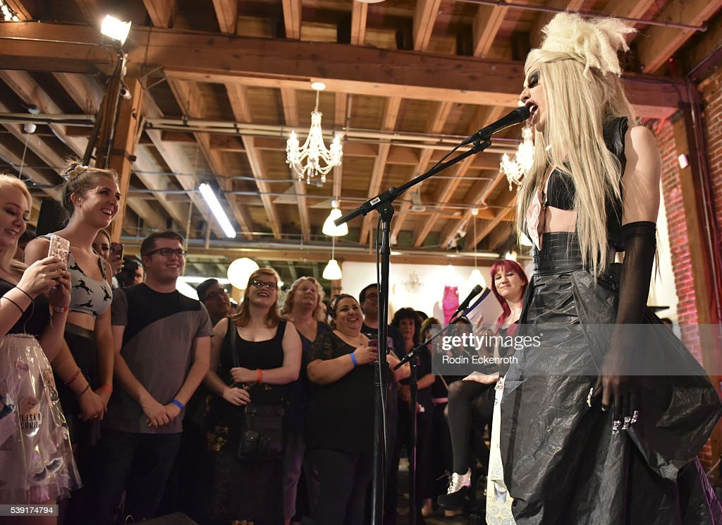 Drag queen Alaska performs during the opening of