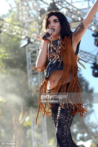 Drag queen and personality Adore Delano from the TV show Rupaul's Drag Race performs onstage during the Beach Goth Festival at The Observatory on...