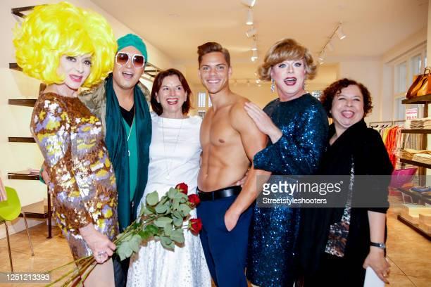 Drag Queen Angeelo Conti, Julian F. M. Stoeckel, Claudia Obert, Big brother TV-show winner Cedric Beidinger, Franziska Traub and guest attend the...