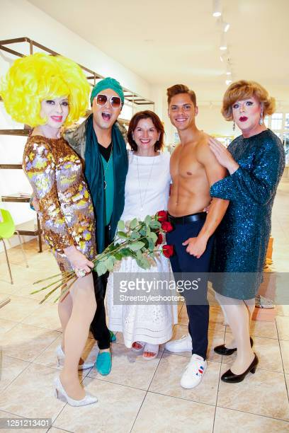 """Drag Queen Angeelo Conti, Julian F. M. Stoeckel, Claudia Obert, Big brother TV-show winner Cedric Beidinger and guest attend the photo call for """"Red..."""