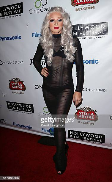 Drag queen April Carrion attends the 2014 Hollywood Film Festival Opening Night Gala and QA at ArcLight Hollywood on October 16 2014 in Hollywood...