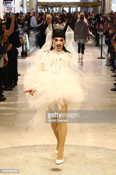 Drag queen Aquaria walks the runway during the MAC Nicopanda Macy's Herald Square Launch Premiere at Macy's Herald Square on April 11 2018 in New...