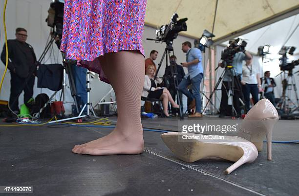 Drag queen artist and Yes campaign activist Panti Bliss is interviewed bare foot by news crews as thousands gather in Dublin Castle square awaiting...