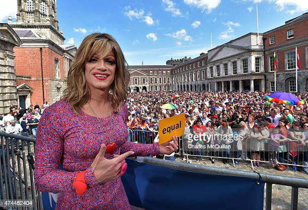 Drag queen artist and Yes campaign activist Panti Bliss joins supporters in favour of samesex marriage as thousands gather in Dublin Castle square...