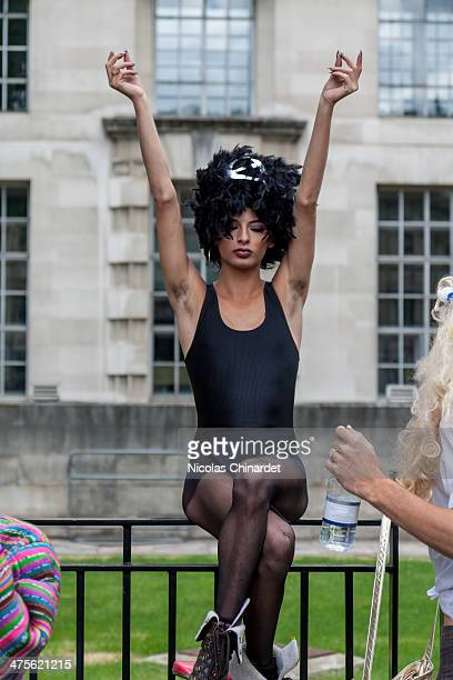 CONTENT] A drag queen at a protest against the antigay propaganda law in Russia opposite Downing Street