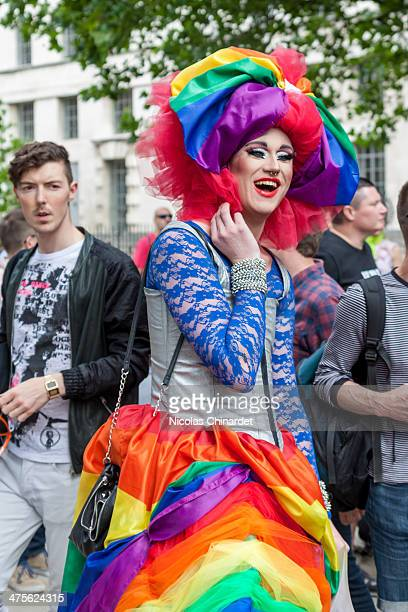 Drag queen at a protest against the anti-gay propaganda law in Russia, opposite Downing Street