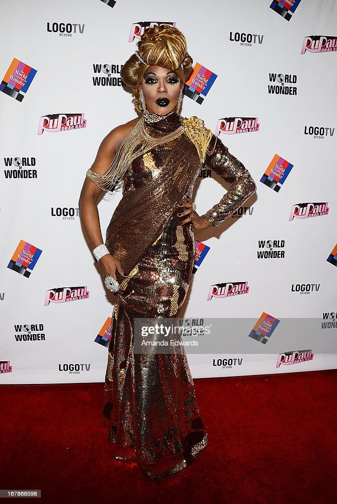 Drag queen BeBe Zahara Benet arrives at 'Rupaul's Drag Race' Season 5 Finale, Reunion & Coronation Taping on May 1, 2013 in North Hollywood, California.