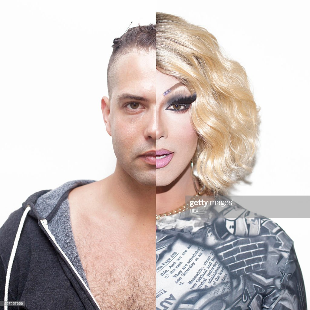 Drag queen before and after make-up : Foto stock