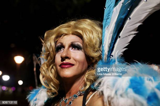 A drag queen celebrates during the 2018 Sydney Gay Lesbian Mardi Gras Parade on March 3 2018 in Sydney Australia The Sydney Mardi Gras parade began...