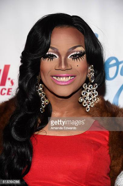 Drag queen Chi Chi DeVayne arrives at the premiere of Logo's RuPaul's Drag Race Season 8 at The Mayan Theater on March 1 2016 in Los Angeles...