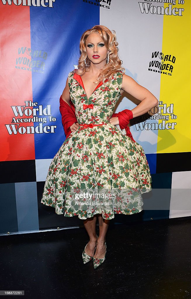 Drag queen Courtney Act arrives at the World Of Wonder book release party/birthday bash at The Globe Theatre at Universal Studios on December 13, 2012 in Universal City, California.