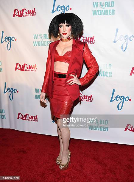 Drag queen Detox arrives at the premiere of Logo's 'RuPaul's Drag Race' Season 8 at The Mayan Theater on March 1 2016 in Los Angeles California