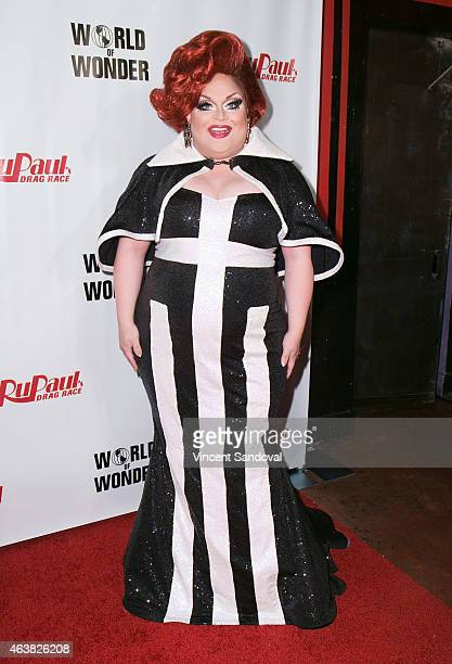 Drag queen Ginger Minj attends RuPaul's Drag Race season 7 at The Mayan on February 18 2015 in Los Angeles California