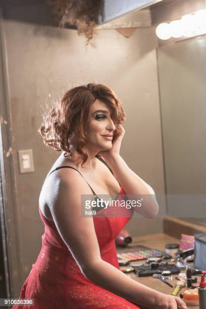 Drag queen in dressing room with makeup