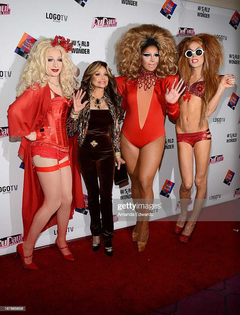 Drag queen Jinkx Monsoon, La Toya Jackson and drag queens Roxxxy Andrews and Alaska arrive at 'Rupaul's Drag Race' Season 5 Finale, Reunion & Coronation Taping on May 1, 2013 in North Hollywood, California.