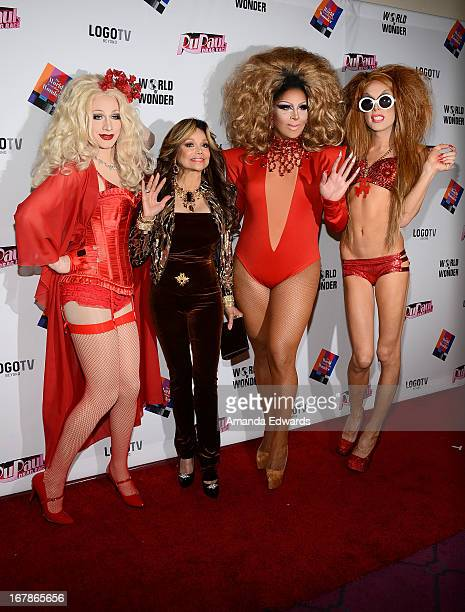 Drag queen Jinkx Monsoon La Toya Jackson and drag queens Roxxxy Andrews and Alaska arrive at 'Rupaul's Drag Race' Season 5 Finale Reunion Coronation...