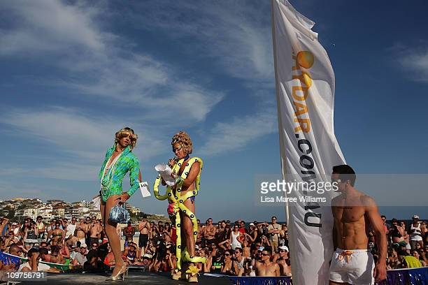 Drag Queen joins host Vanessa Wagna on stage during the Sydney Mardi Gras Drag Races at Bondi Beach on March 4, 2011 in Sydney, Australia. This...