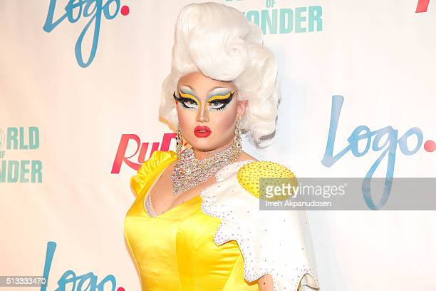 Drag queen Kim Chi attends the premiere of Logo's 'RuPaul's Drag Race' season 8 at Mayan Theater on March 1 2016 in Los Angeles California