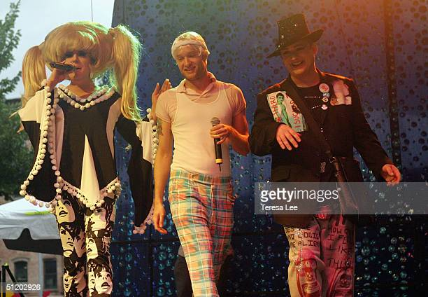 """Drag Queen """"Lady"""" Bunny, performer Cazwell and Singer Boy George perform at Wigstock 2004 August 21, 2004 at Tompkins Square Park, in New York City."""