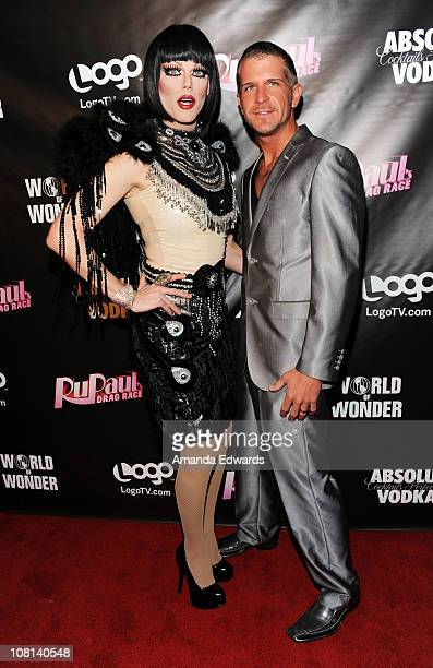 Drag queen Morgan McMichaels and Dylan Jewel arrive at the premiere of RuPaul's Drag Race Season 3 at Rage on January 18 2011 in West Hollywood...