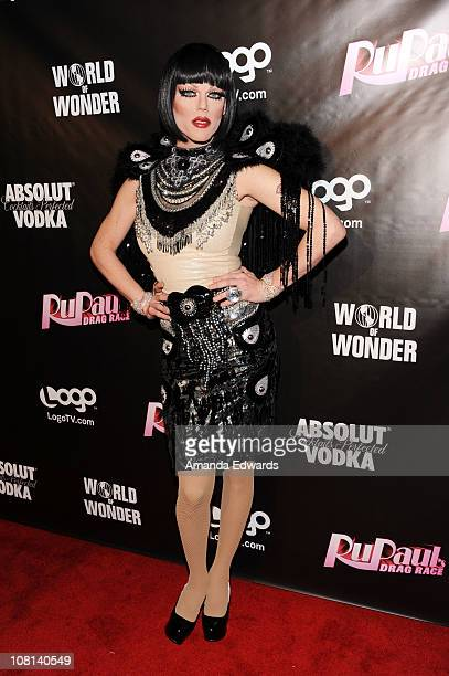 Drag queen Morgan McMichaels arrives at the premiere of RuPaul's Drag Race Season 3 at Rage on January 18 2011 in West Hollywood California