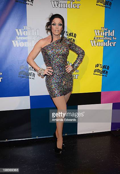 Drag queen Morgan McMichaels arrives at the World Of Wonder book release party/birthday bash at The Globe Theatre at Universal Studios on December 13...