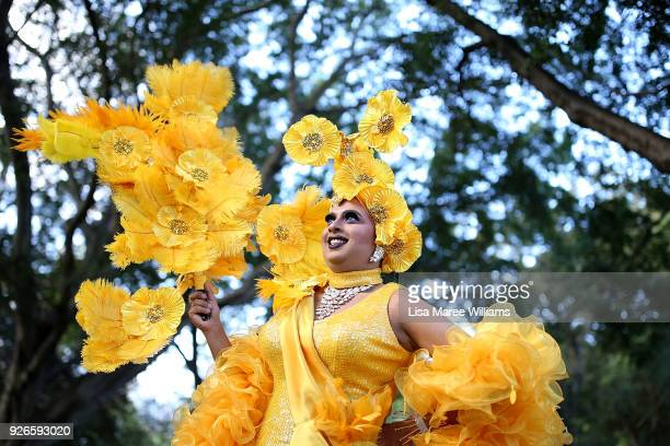 Drag Queen Ms J poses ahead of the 2018 Sydney Gay Lesbian Mardi Gras Parade on March 3 2018 in Sydney Australia The Sydney Mardi Gras parade began...