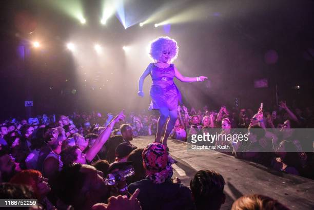 A drag queen named Nina West performs during a drag festival called Bushwig on September 7 2019 in the Brooklyn borough of New York City In its...