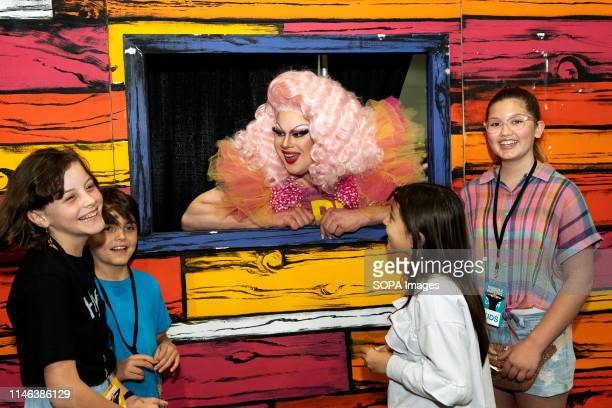 Drag queen Nina West of RuPauls Drag Race season 11 speaking with young fans during RuPaul's DragCon LA 2019 at the Los Angeles Convention Center in...