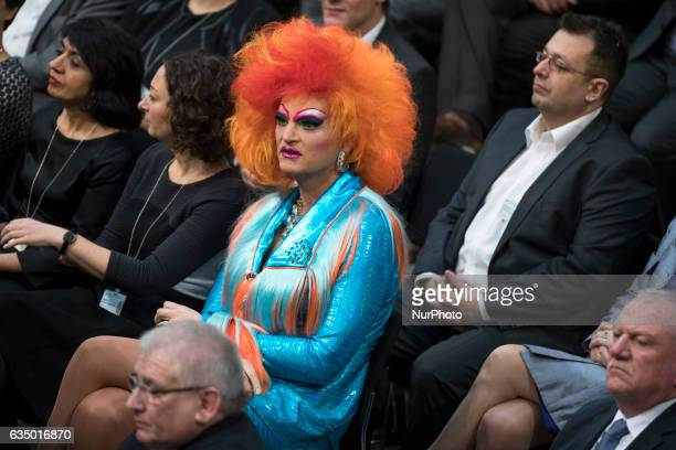 Drag queen Olivia Jones is pictured prior to the vote for the presidential election by the Bundesversammlung at the Reichstag in Berlin Germany on...
