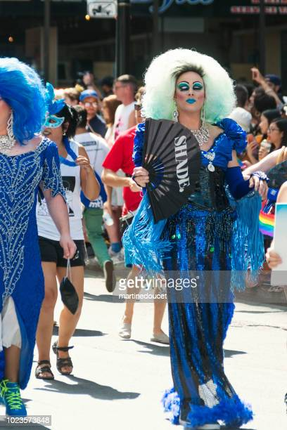 "drag queen participant of lgbtq pride parade in montreal. - ""martine doucet"" or martinedoucet stock pictures, royalty-free photos & images"