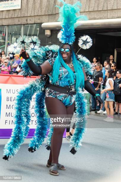 """drag queen participant of lgbtq pride parade in montreal. - """"martine doucet"""" or martinedoucet stock pictures, royalty-free photos & images"""