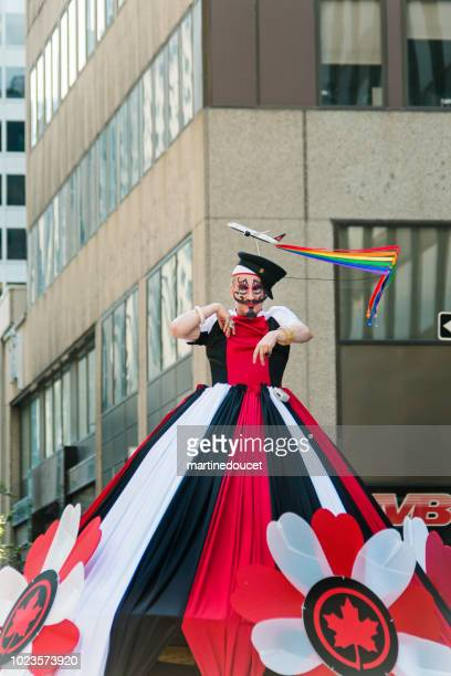 drag queen participant of lgbtq pride parade in montreal. - air canada stock pictures, royalty-free photos & images