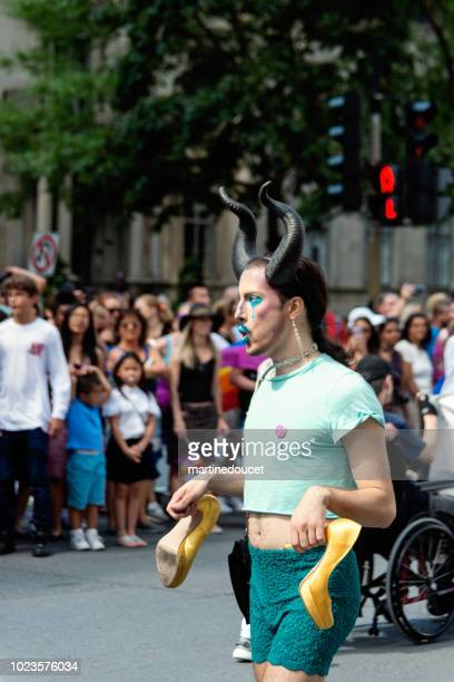 Drag queen participant of LGBTQ Pride Parade in Montreal.