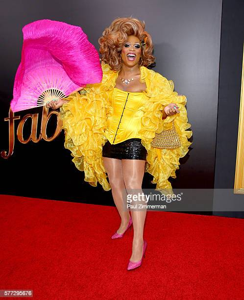 Drag Queen Peppermint attends Absolutely Fabulous The Movie New York Premiere at SVA Theater on July 18 2016 in New York City