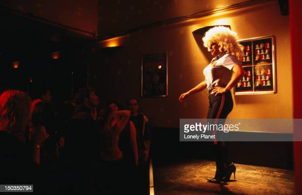 Drag queen performs at Stonewall Hotel.