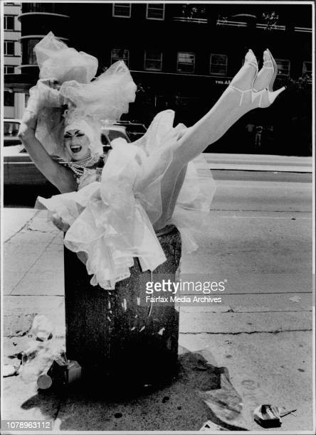 Drag Queen Polly on Oxford street at 1PM the day after the Gay Mardi Gras on his way back home. February 17, 1991. .