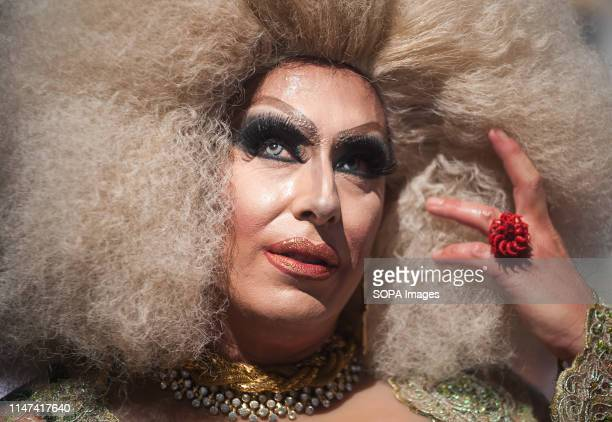 Drag queen poses as he takes part during the Pride LGTBI Torremolinos. Torremolinos is the first city from Spain that celebrates the LGBTI pride,...