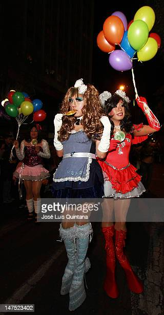 A drag queen poses for a picture during the celebration of the Gay Pride Parade on June 30 2012 in La Paz Bolivia