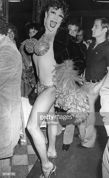 A drag queen queuing outside the Studio 54 disco in New York City