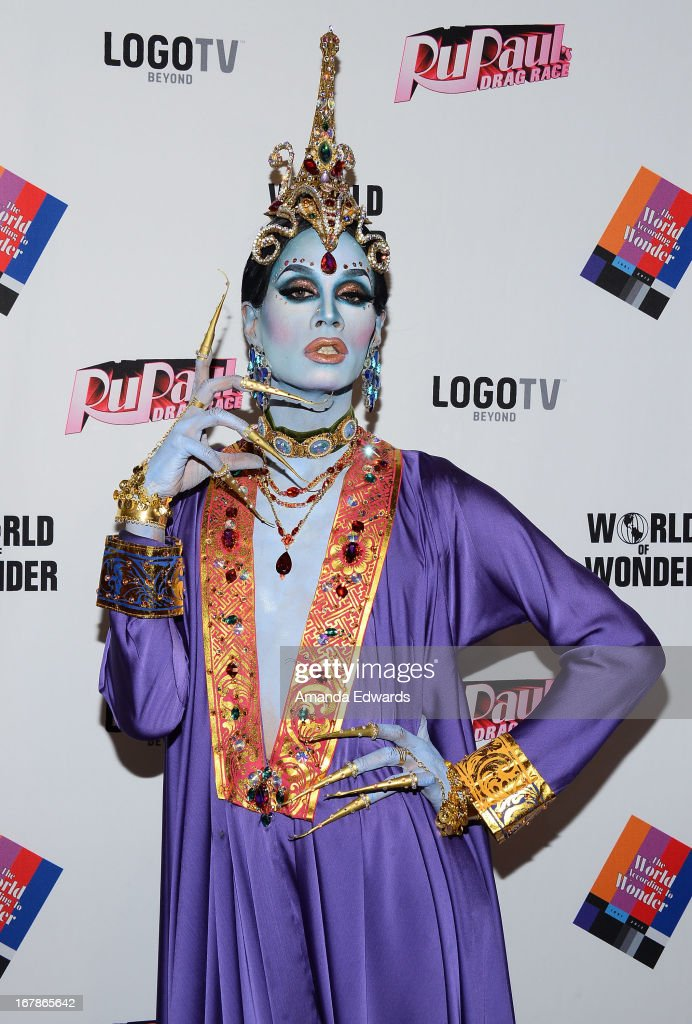 Drag queen Raja arrives at 'Rupaul's Drag Race' Season 5 Finale, Reunion & Coronation Taping on May 1, 2013 in North Hollywood, California.